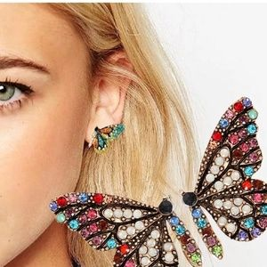 Butterfly earrings multi-color jewels